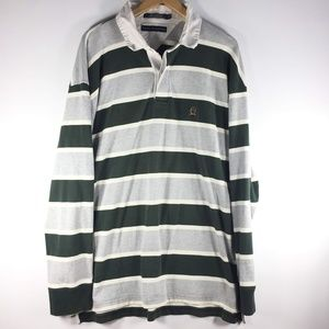 Tommy Hilfiger Gray Green Stripe Polo LS 2XL XXL